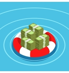 Dollars in lifebuoy vector image