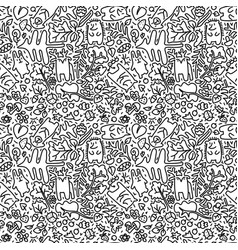 Doodle forest seamless pattern with animals vector