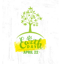 Earth day eco green poster design organic vector