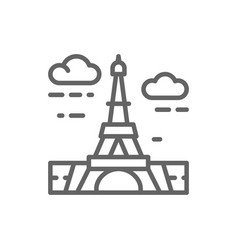 eiffel tower france landmark line icon vector image