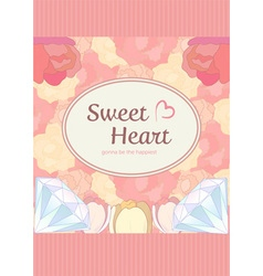 elegant cute sweet pastel peach pink heart shape vector image