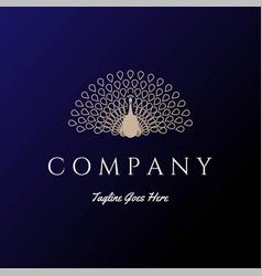 elegant luxury golden beauty bird peacock logo vector image