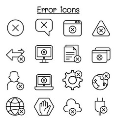 Error icon set in thin line style vector