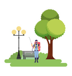Exterminator man in the park vector