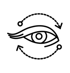 Eye isolated linear icon with arrows cosmetology vector