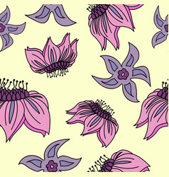 Fantasy hand-drawn floral seamless pattern an vector