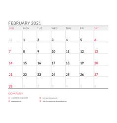 February 2021 monthly calendar planner printable vector