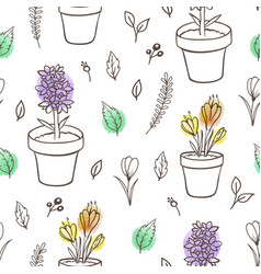 floral seamless pattern with houseplants vector image