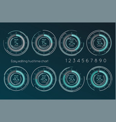 Futuristic digital time easy editing scale set of vector