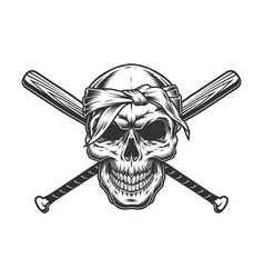 Gangster skull in bandana vector