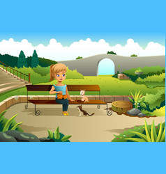 Girl playing with cats vector