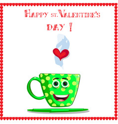 green coffee mug with smiling face eyes and heart vector image