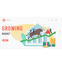 growing market landing page template trader vector image