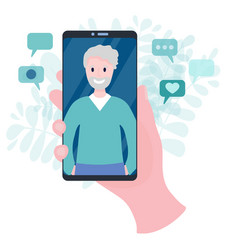 hand holding smartphone with video call to father vector image