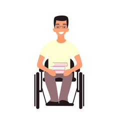 Handicap student sit in whilechair disabled man vector