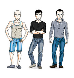 Handsome men group standing wearing fashionable vector