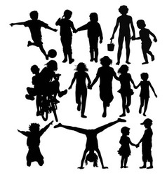 Happy Children Recreation and Activity Silhouettes vector