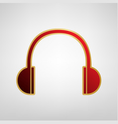 headphones sign red icon on vector image