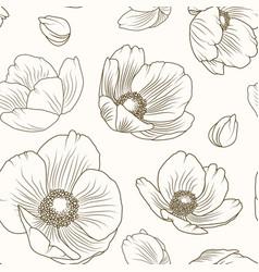 Hellebore poppy floral brown beige pattern texture vector