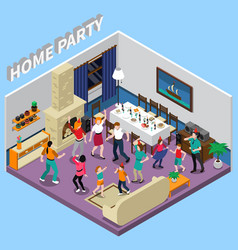 Home party isometric composition vector