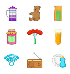 Homebody icons set cartoon style vector