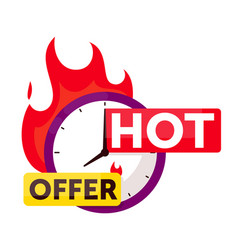 hot offer sale timer countdown badge on white vector image
