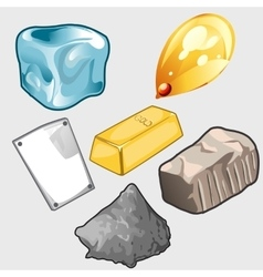Icons set of gold ore and other materials vector