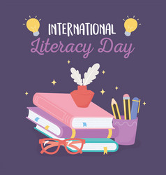 international literacy day ink and feather vector image