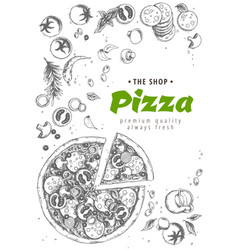 italian pizza top view frame a set of classic vector image