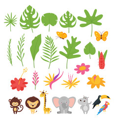 Jungle leaves flowers and animals vector