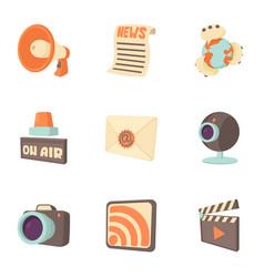 Latest news icons set cartoon style vector