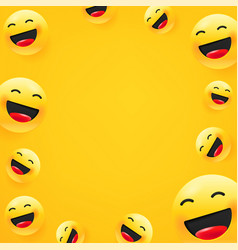 Laughing emoji social media message background vector