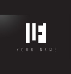 lf letter logo with black and white negative vector image