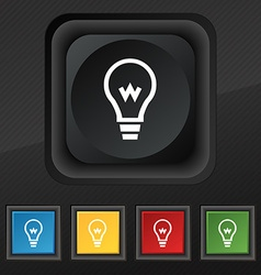 Light bulb icon symbol Set of five colorful vector image