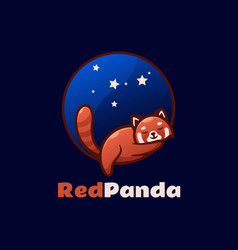 logo red panda simple mascot style vector image