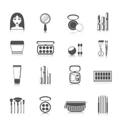 Makeup Icons Black vector image