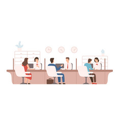 male and female clients sitting and talking to vector image
