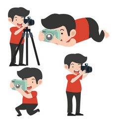 man with cameras in different poses vector image