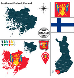Map of southwest finland finland vector
