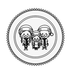 Monochrome contour circle with children with vector