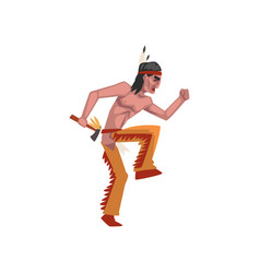 Native american indian man with tomahawk tribe vector