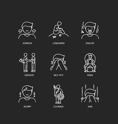 Negative feelings chalk white icons set on black vector