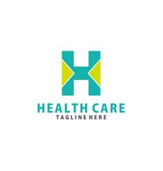 Nitial h health logo design vector