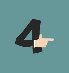 number 4 letter businessman hand font it shows vector image