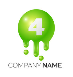 number four splash logo green dots and bubbles vector image vector image