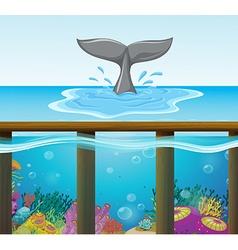 Ocean scene with dolphin tail vector