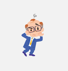 old businessman with glasses something sick and vector image