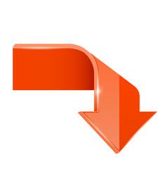 Orange bent arrow down 3d symbol vector