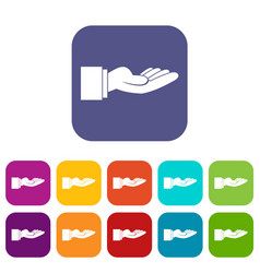 Outstretched hand gesture icons set vector