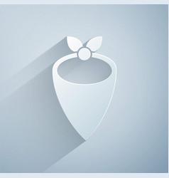 Paper cut cowboy bandana icon isolated on grey vector